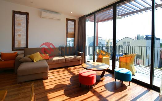 Nice designed 2 bedroom flat for rent in Tay Ho, big balcony