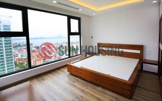 Lake & city view from apartment three bedrooms in Xuan Dieu, Westlake