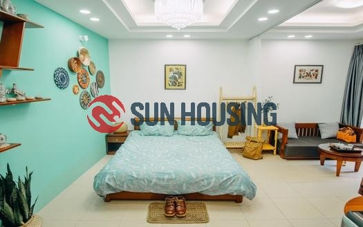 Characteristic studio in Ba Dinh for rent, 30 sqm, chill vibe garden
