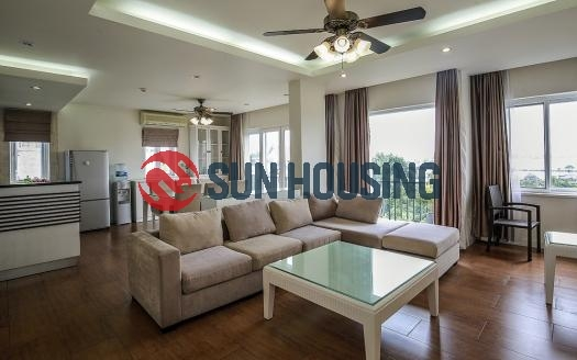 Green garden view 2-bedroom apartment for rent on the 5th floor in Tay Ho