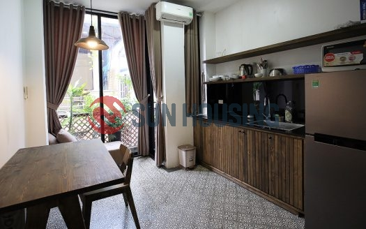 Rough barn-board interior design style. One bedroom apartment in Tay Ho.