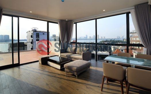 Serviced apartment lake view 2 bedrooms in Dang Thai Mai for rent