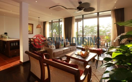 West lake view 2 bedrooms serviced apartment in Yen Phu village to rent