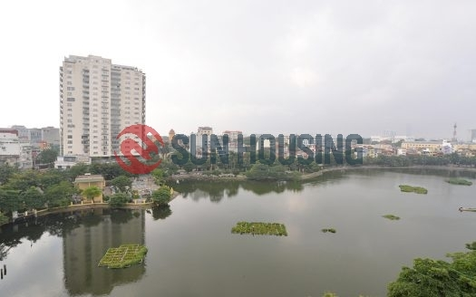 Truc Bach lake view 3 bedrooms service apartment in Tran Vu street, Ba Dinh dist, Ha Noi rental from now.
