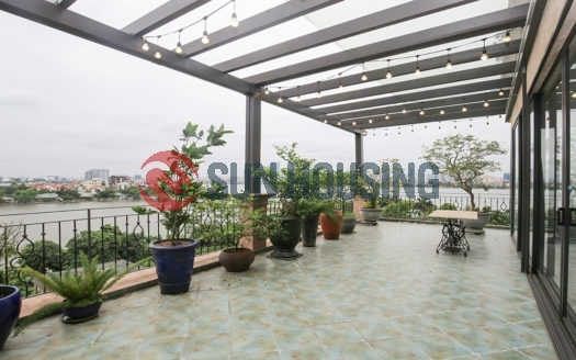 Quality lake view duplex 3 bedroom apartment in Tay Ho for rent, extra-large balcony