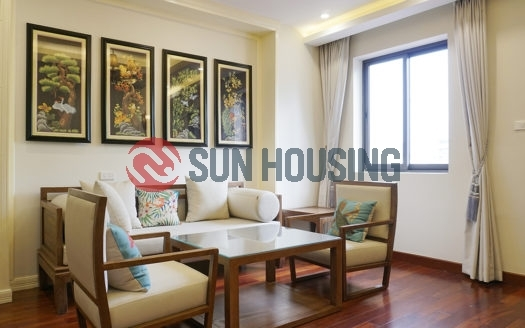 Big balcony, stylish 2 bedrooms apartment for rent in Tran Quoc Toan street, Hoan Kiem, 75 sqm.