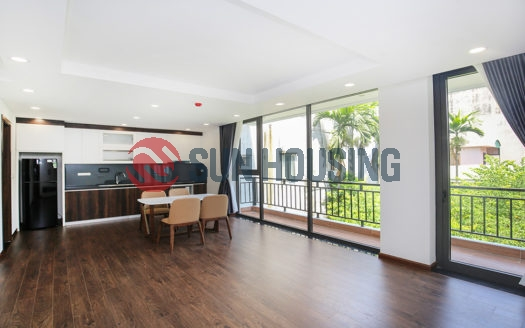 Newly finished 60 sqm 1 bedroom apartment for rent in Tay Ho, long balcony.