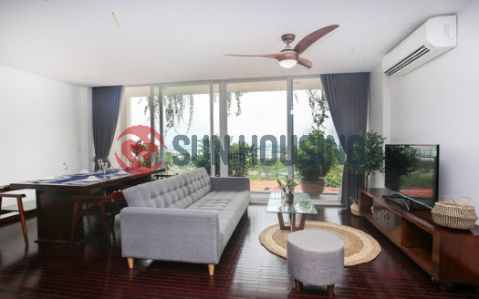 For rent brand new lake-view 3 bedroom apartment in Au Co, Tay Ho.
