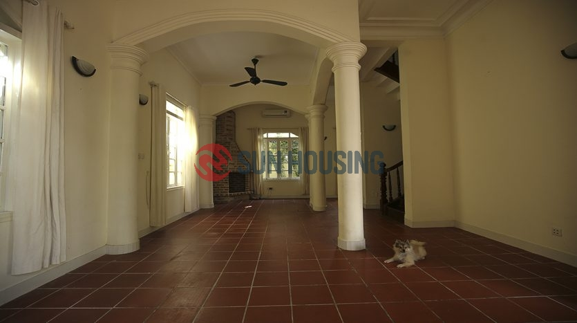Swimming pool, a larger yard villa with 5 bedrooms in Tay Ho for rent.